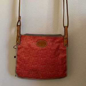 Fossil Red & Gray Cross-body Purse